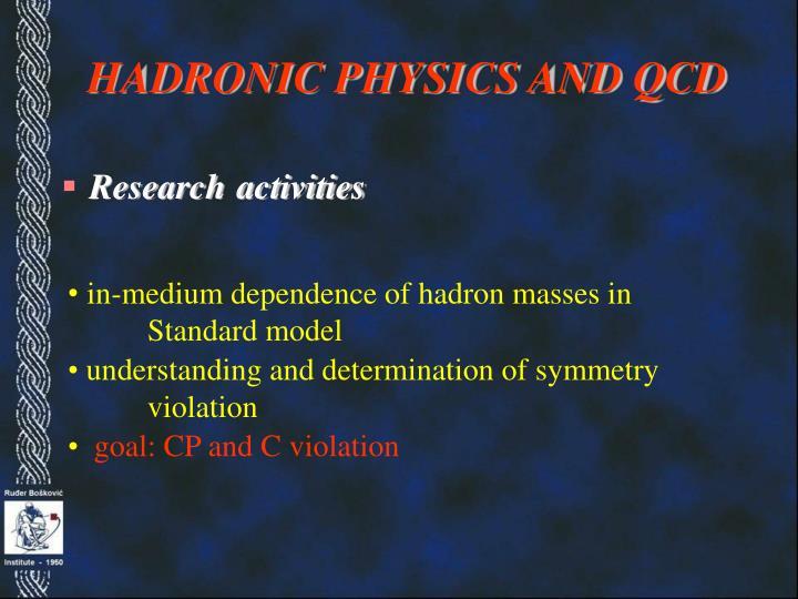HADRONIC PHYSICS AND QCD
