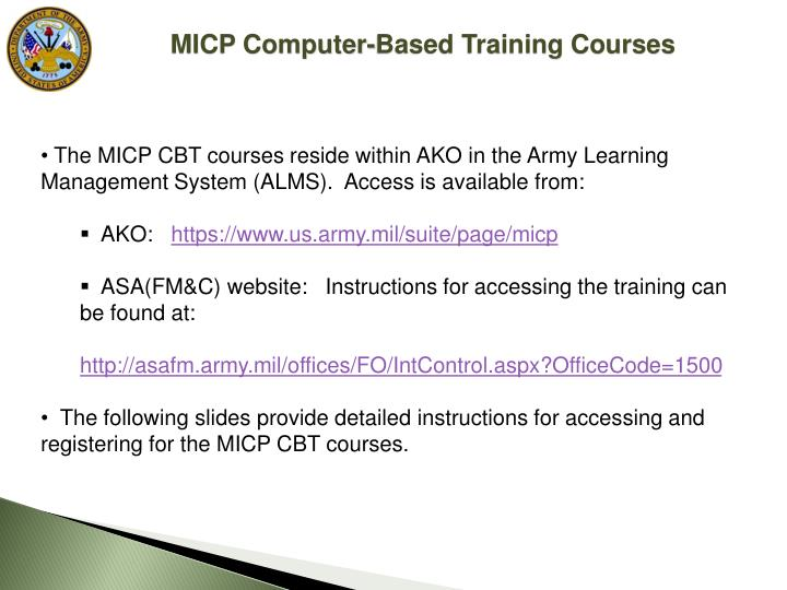 Ppt Managers Internal Control Program Micp Computer Based