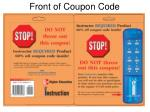 front of coupon code