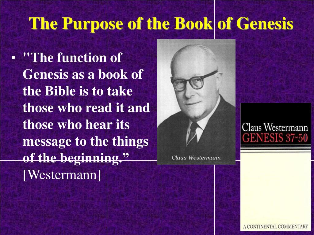 The Purpose of the Book of Genesis