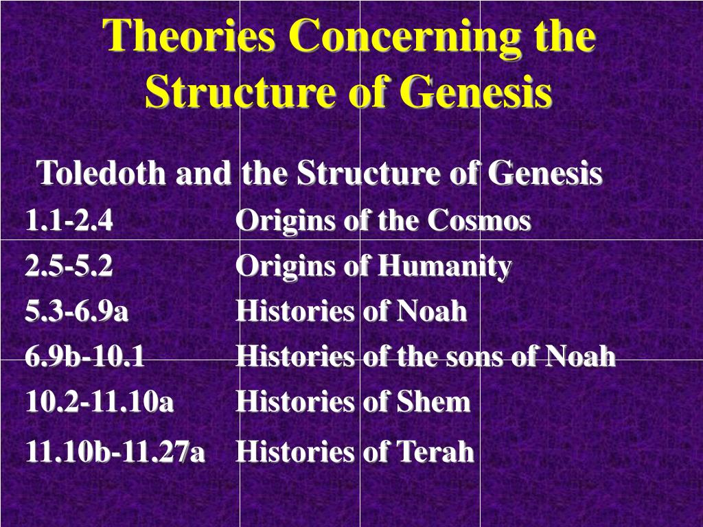 Theories Concerning the Structure of Genesis