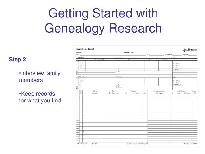 Getting started with genealogy research3