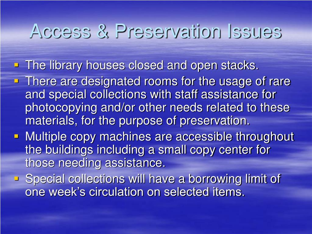 Access & Preservation Issues