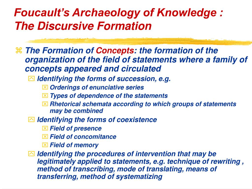 Foucault's Archaeology of Knowledge : The Discursive Formation