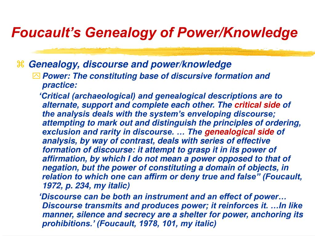 Foucault's Genealogy of Power/Knowledge