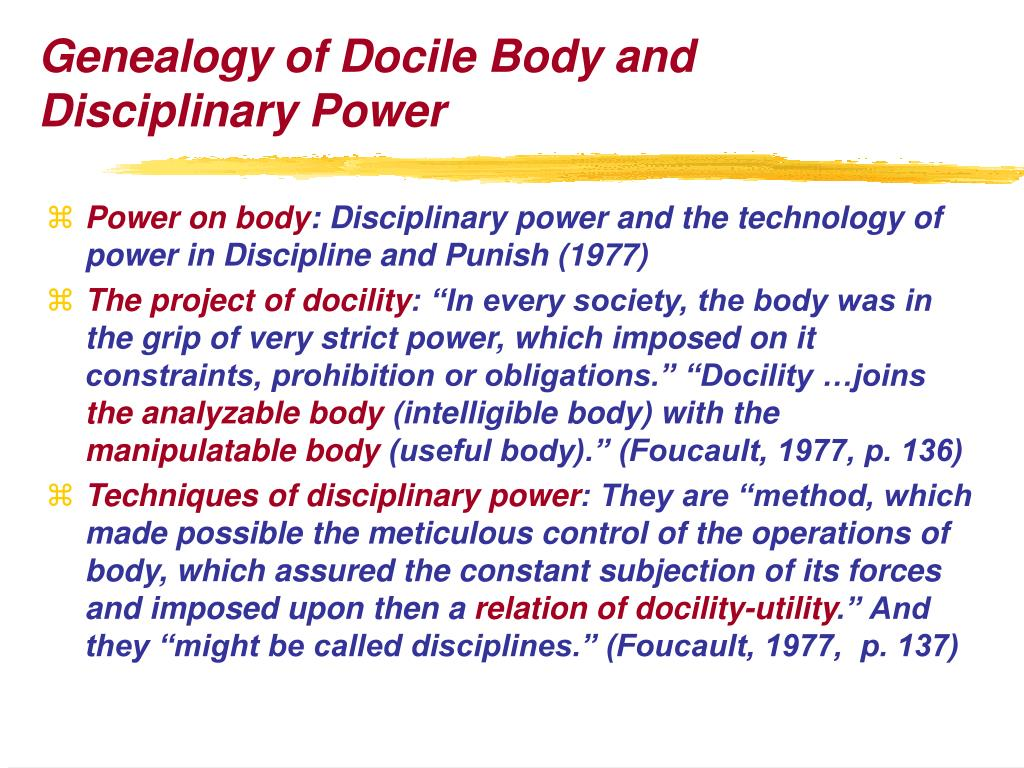 Genealogy of Docile Body and