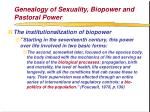 genealogy of sexuality biopower and pastoral power70