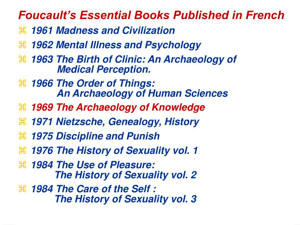 Foucault's Essential Books Published in French