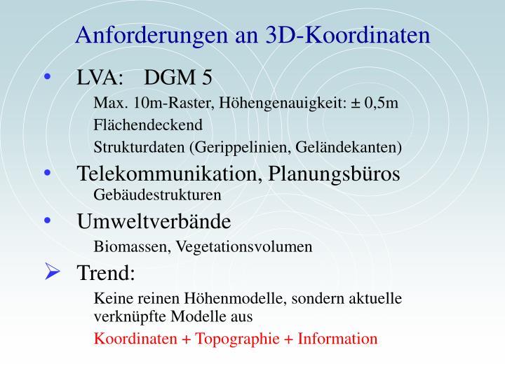 Anforderungen an 3d koordinaten