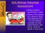 adl rehab potential assessment