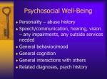 psychosocial well being