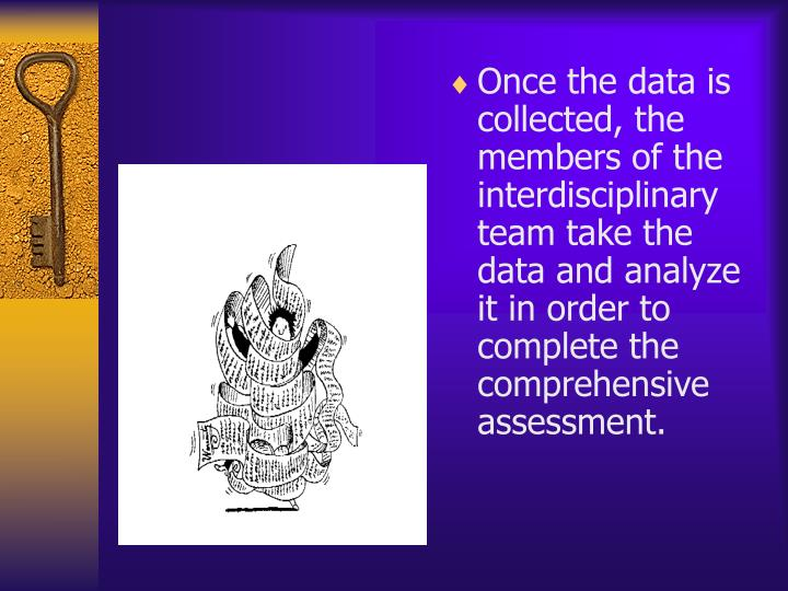 Once the data is collected, the members of the interdisciplinary team take the data and analyze it in order to complete the comprehensive assessment.