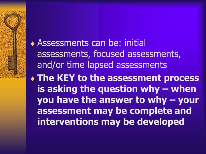 Assessments can be: initial assessments, focused assessments, and/or time lapsed assessments