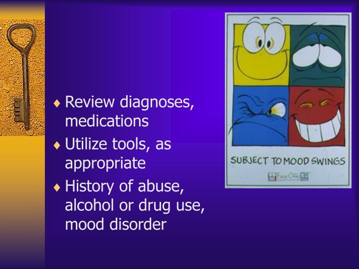 Review diagnoses, medications