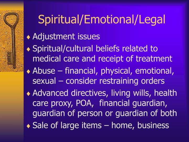 Spiritual/Emotional/Legal