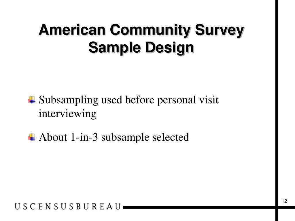 American Community Survey Sample Design
