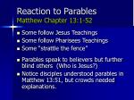 reaction to parables matthew chapter 13 1 52