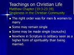 teachings on christian life matthew chapter 19 3 23 39 singleness in the christian community