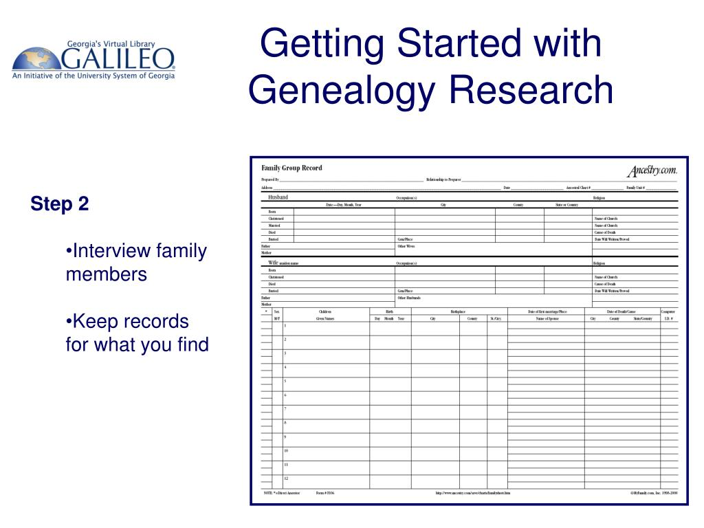Getting Started with Genealogy Research