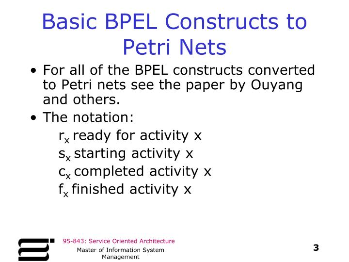 Basic bpel constructs to petri nets