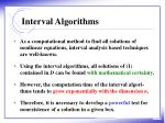 interval algorithms