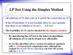 lp test using the simplex method