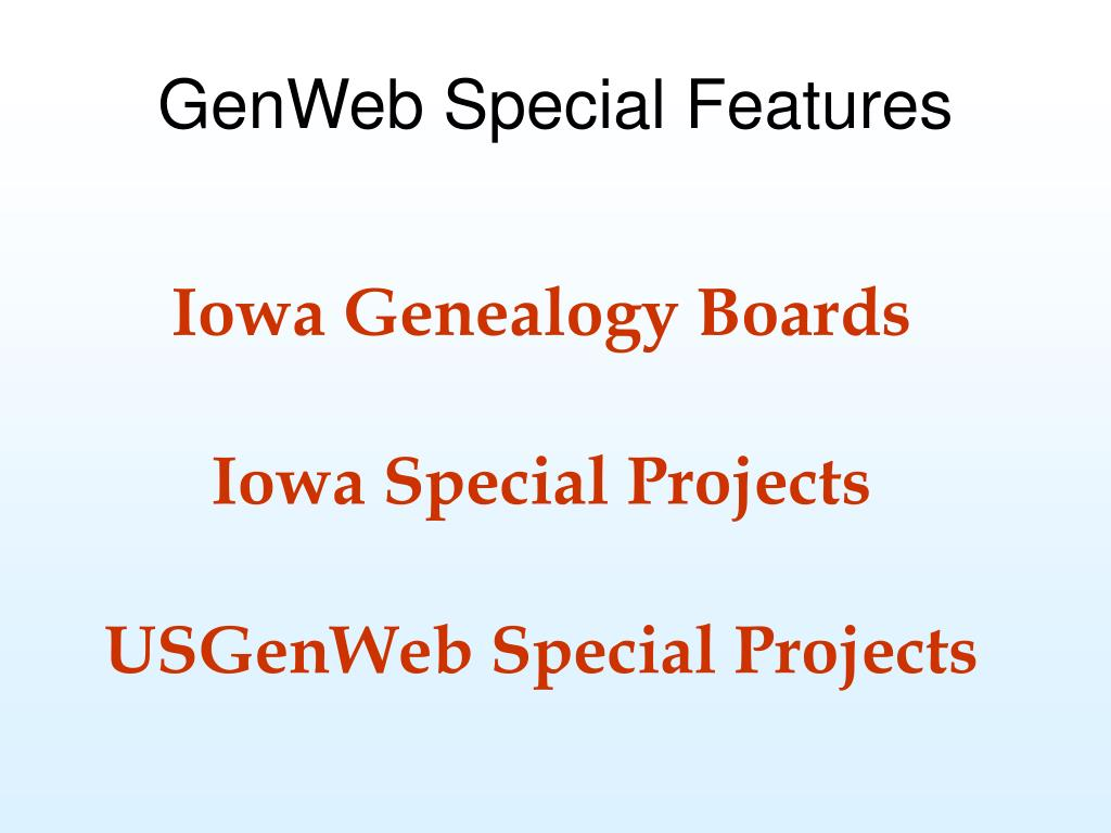 GenWeb Special Features