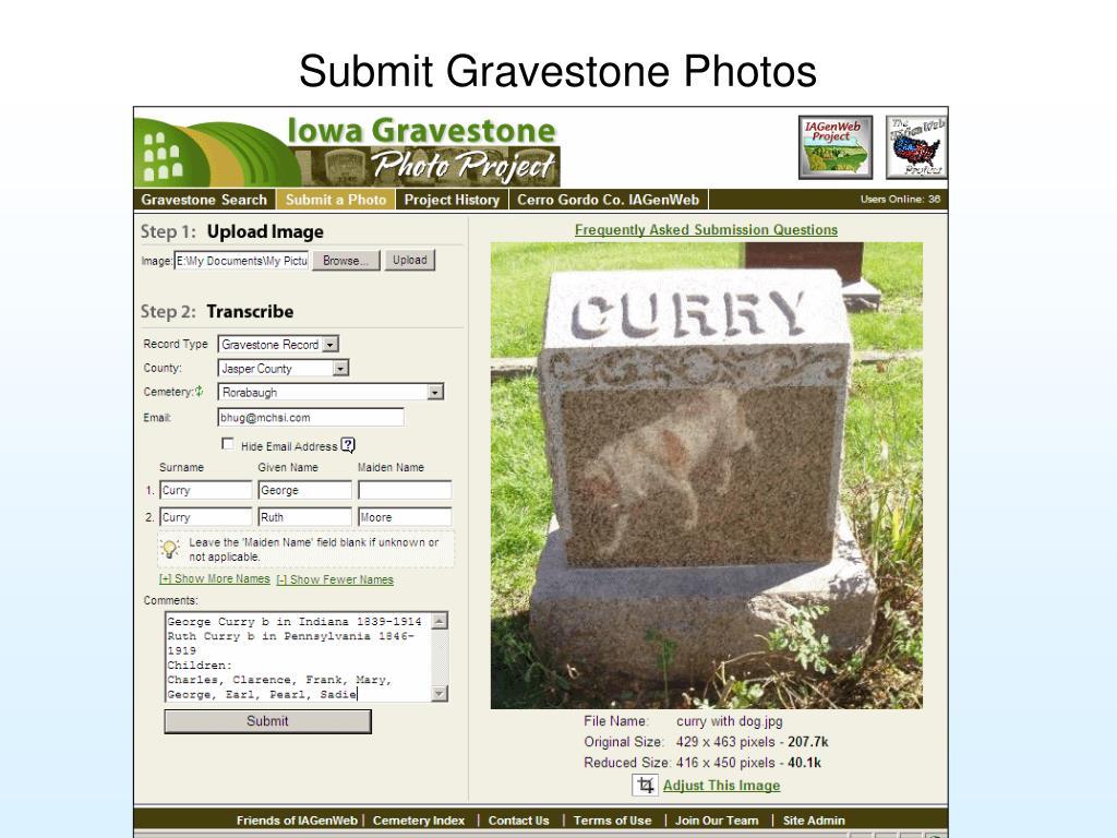 Submit Gravestone Photos