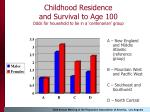 childhood residence and survival to age 100 odds for household to be in a centenarian group