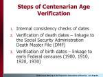 steps of centenarian age verification