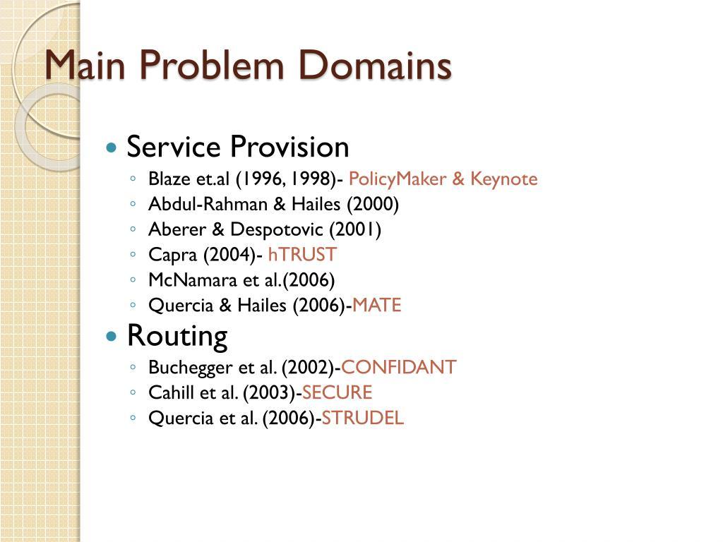 Main Problem Domains