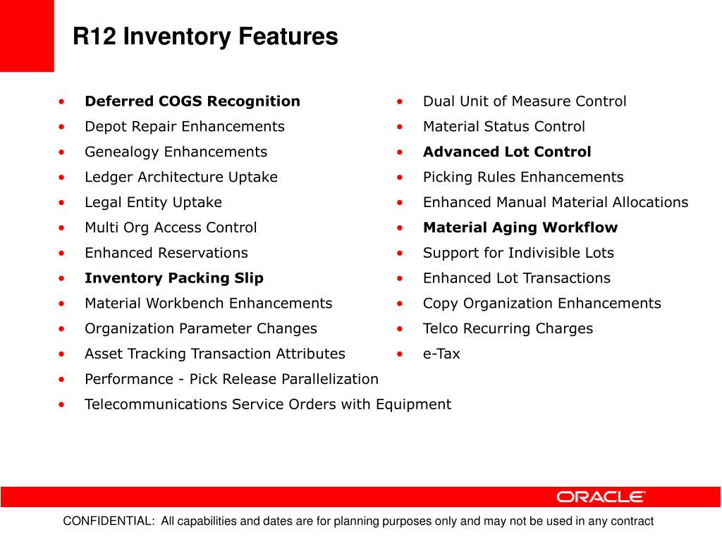 R12 Inventory Features