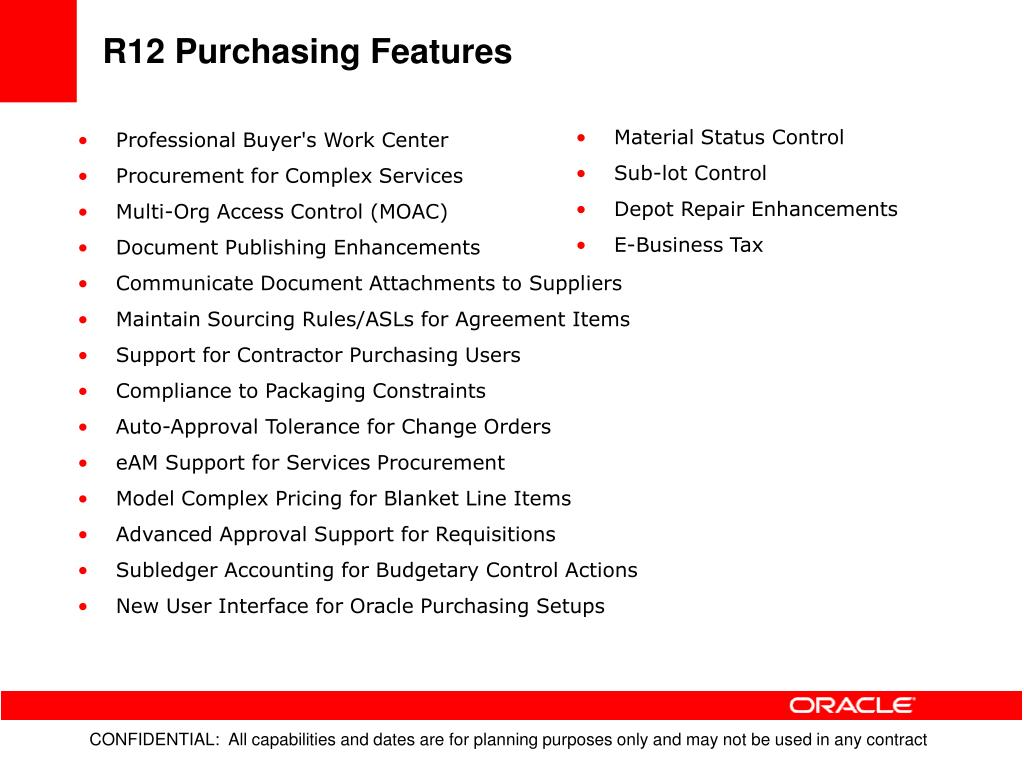 R12 Purchasing Features