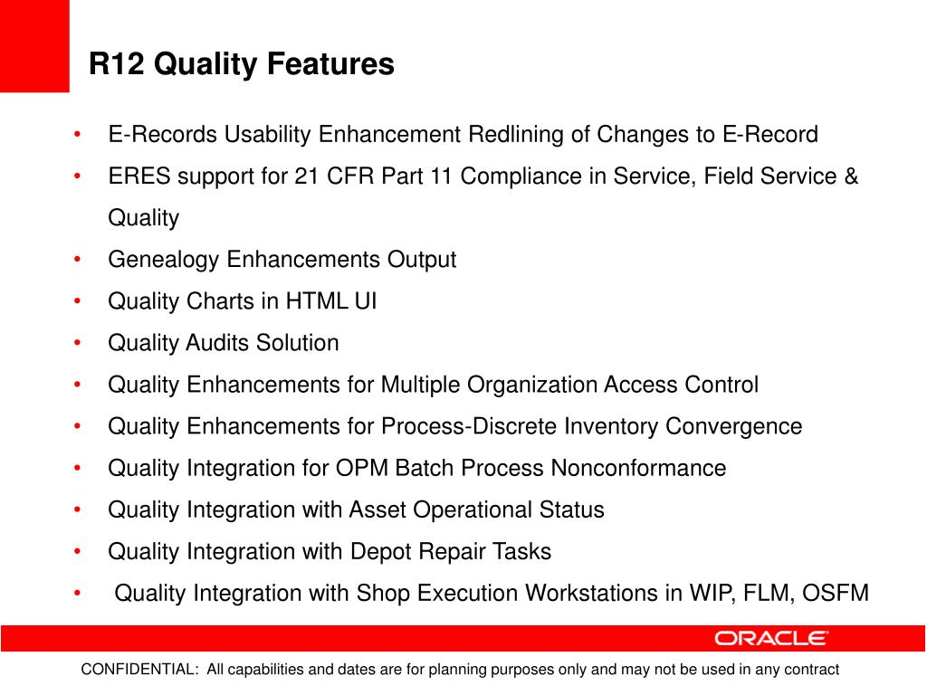 R12 Quality Features