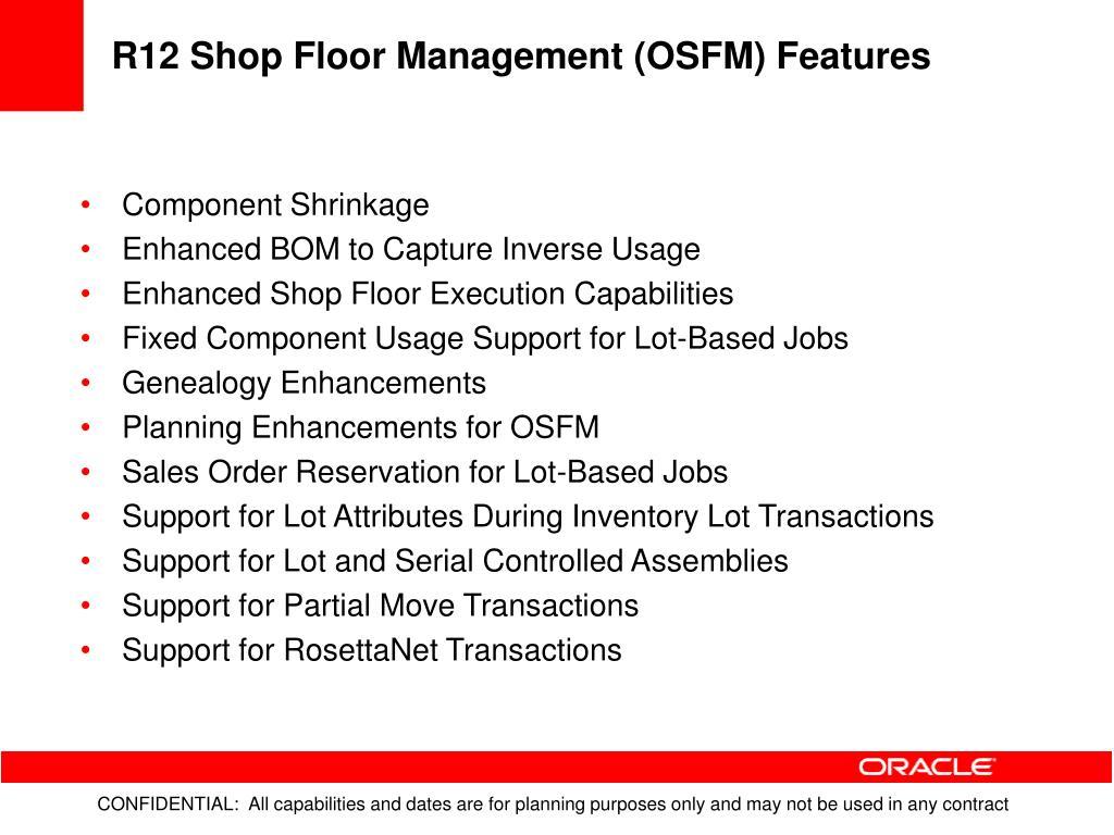 R12 Shop Floor Management (OSFM) Features
