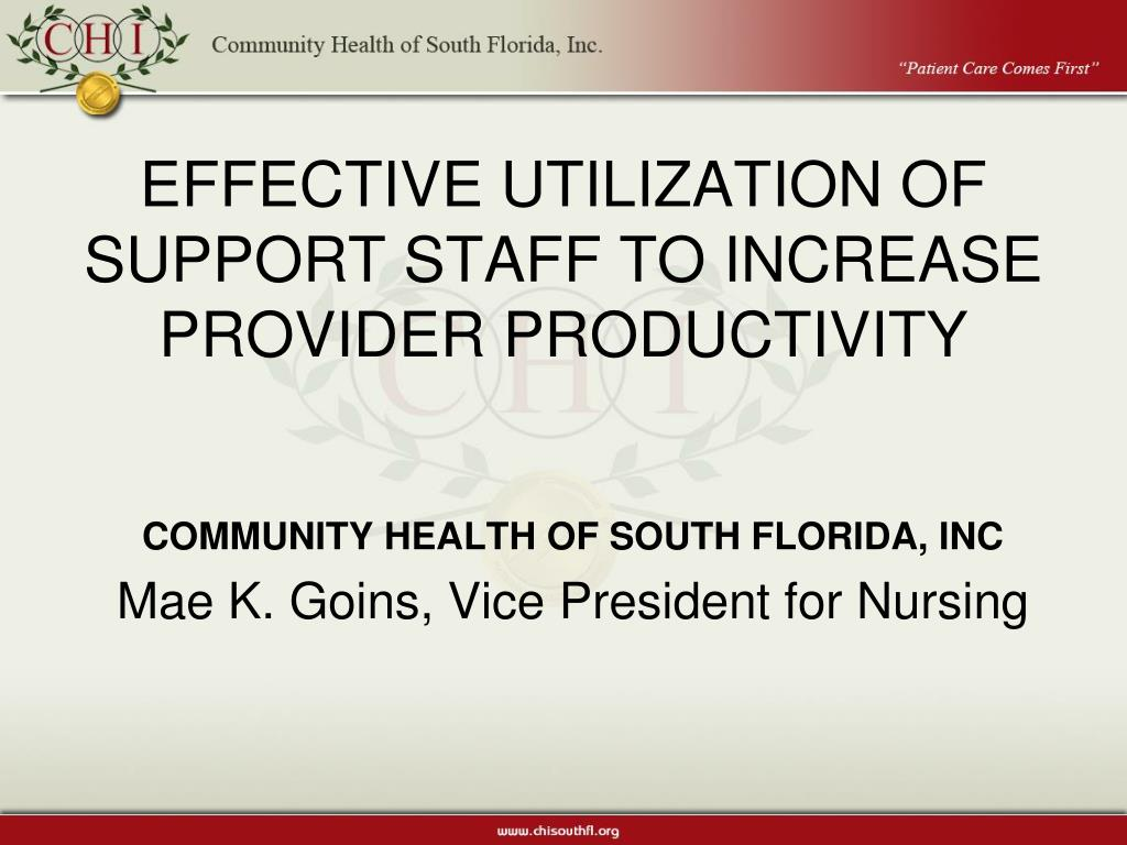 effective utilization of support staff to increase provider productivity l.