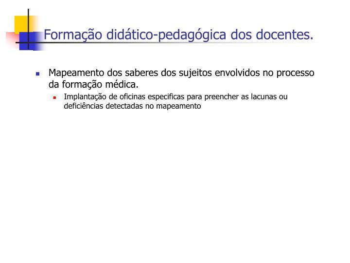 Formação didático-pedagógica dos docentes.