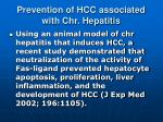 prevention of hcc associated with chr hepatitis1