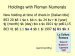 holdings with roman numerals31