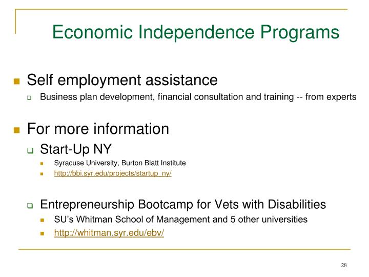 Economic Independence Programs