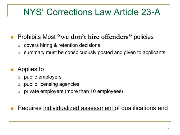 NYS' Corrections Law Article 23-A