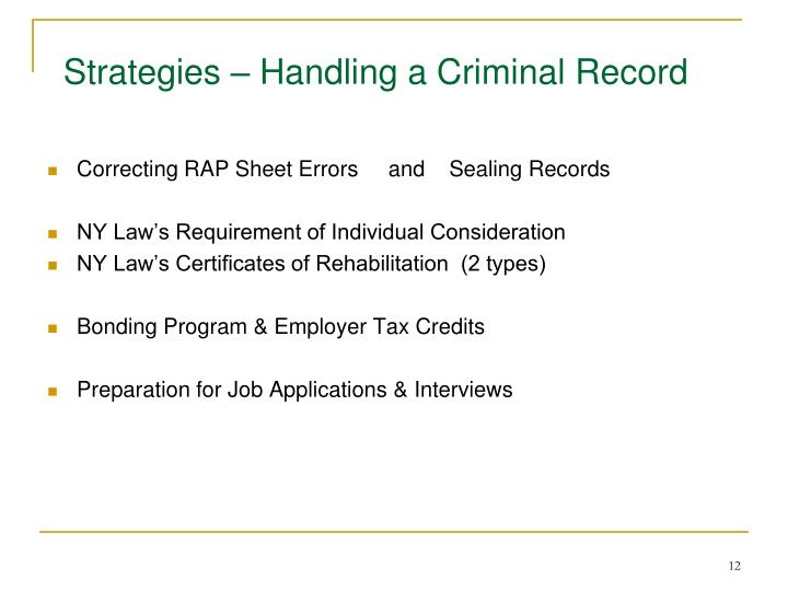 Strategies – Handling a Criminal Record