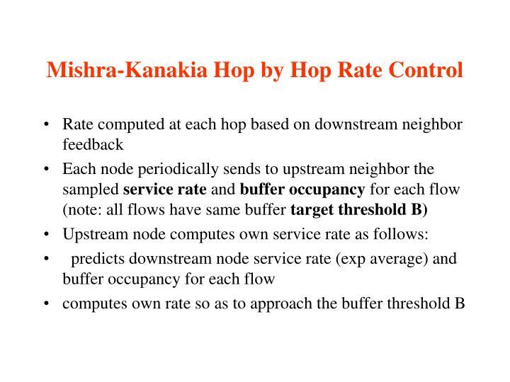 Mishra-Kanakia Hop by Hop Rate Control