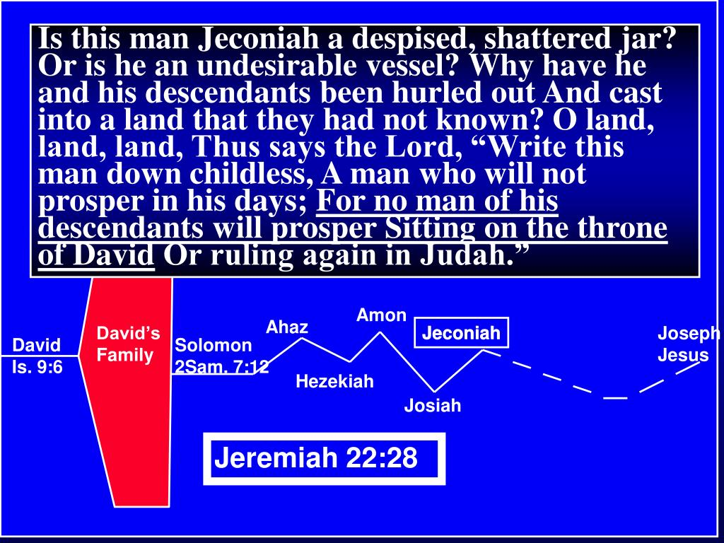 """Is this man Jeconiah a despised, shattered jar? Or is he an undesirable vessel? Why have he and his descendants been hurled out And cast into a land that they had not known? O land, land, land, Thus says the Lord, """"Write this man down childless, A man who will not prosper in his days;"""