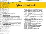 syllabus continued