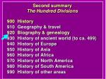 second summary the hundred divisions
