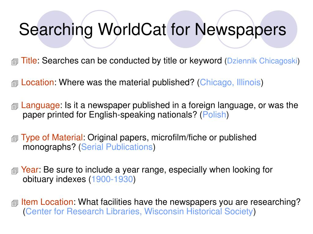 Searching WorldCat for Newspapers