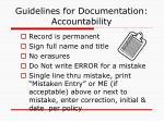 guidelines for documentation accountability