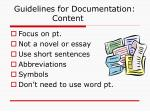 guidelines for documentation content