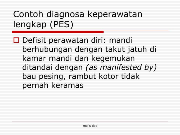 Contoh diagnosa keperawatan lengkap (PES)